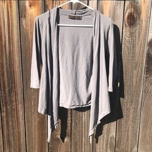 The Limited Open Waterfall Cardigan Solid Gray